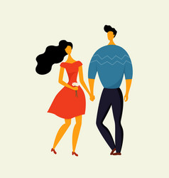 cute couple holding hands man and woman vector image