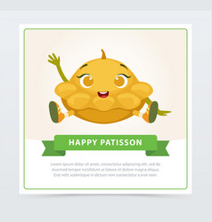 cute humanized squash vegetable character waving vector image