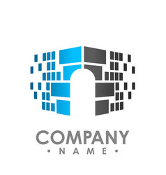 digital data share security logo design template vector image