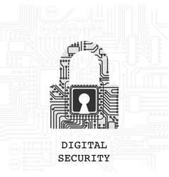 digital padlock security wallpaper vector image