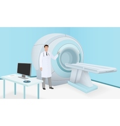 Doctor invites patient to body brain scan of MRI vector