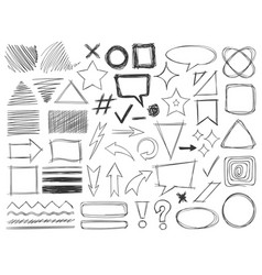 Doodle shapes drawings pencil monochrome textures vector