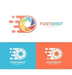 Fast camera shutter logo combination Speed vector