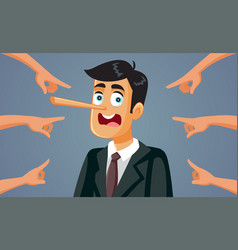 Fingers pointing at lying businessman vector