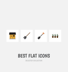 Flat icon dacha set of stabling spade flowerpot vector