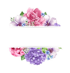 Floral background in watercolor style with place vector