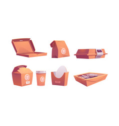 food boxes carton bags cup disposable packages vector image