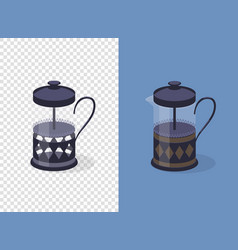 french press coffee maker on transparent and blue vector image