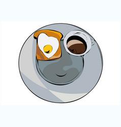 Fried egg and outline mug vector