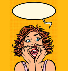 funny woman screams strange facial expressions vector image
