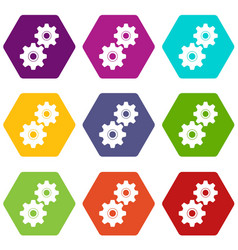 gear icon set color hexahedron vector image