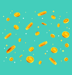 gold coins money falling flat vector image