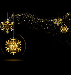 gold glowing christmas snowflakes vector image