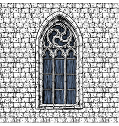 Gothic window at the wall vector