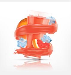 grapefruit juice splash vector image