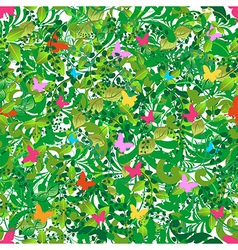 Green floral spring and summer pattern vector image