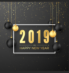 greeting golden numbers 2019 and text happy new vector image