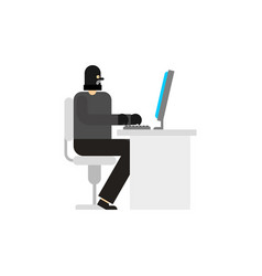 Hacker and pc robber internet virutal crime vector