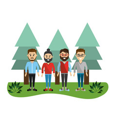 happy men friends with pine trees vector image