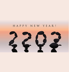 Happy new year 2022 design 20 22 numbers stone vector