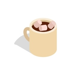 Hot chocolate with marshmallows in cup icon vector