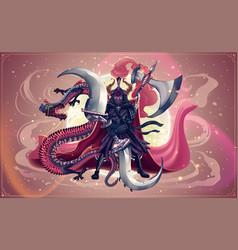 japanese samurai and dragon or snake asian art vector image