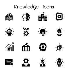 knowledge icons set graphic design vector image