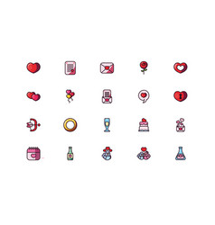 Love and valentines day icon set design vector