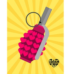 Love bomb Breaking a pomegranate with hearts vector image