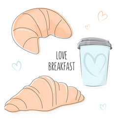 Love breakfast bakery doodles vector