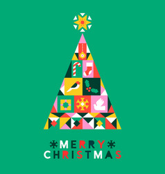 Merry christmas ornament icon folk pine tree card vector