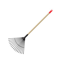 Metal rake with wooden handle garden accessories vector