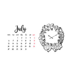 monthly desk calendar template for month july vector image