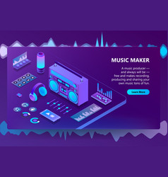 music and recording production vector image