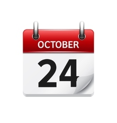 October 24 flat daily calendar icon date vector