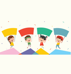 Of kids holding placard vector