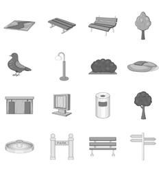 Park icons set monochrome style vector
