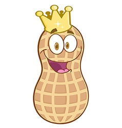 Peanut Mascot Character With Golden Crown vector image