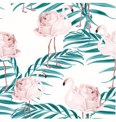 Pink flamingo bird rose flower palm leaves pattern vector