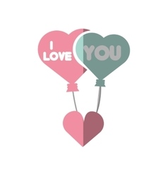 Pink lettering love hearts hanging shadow vector