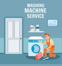 Plumber specialist repair washing machine vector