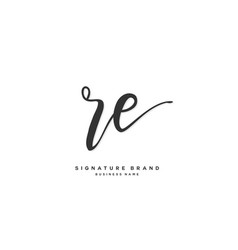 R e re initial letter handwriting and signature vector