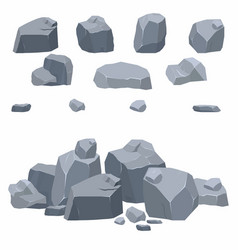 Rocks stones collection different boulders vector