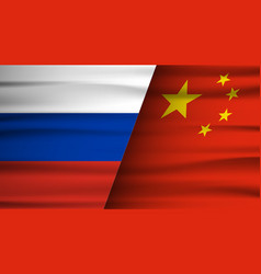 russia and china flag partnership and cooperation vector image