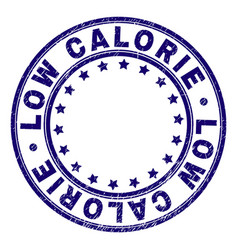 Scratched textured low calorie round stamp seal vector