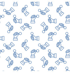 seamless pattern with mic in hand blue line vector image