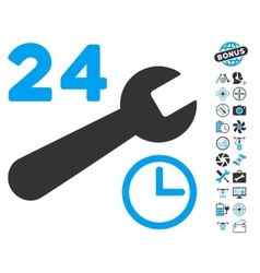 Service Hours Icon With Copter Tools Bonus vector image
