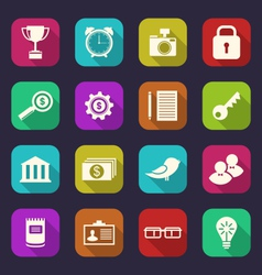 set flat icons of business office and financial vector image