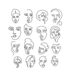 set linear woman portraits continuous linear vector image