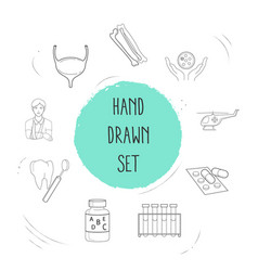 set of organ icons line style symbols with patient vector image